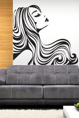 Vinyl Silhouette Wall Decal Art Dreaming Girl Profile Sticker for Housewares