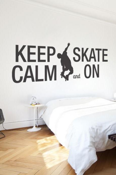 Wall Decal Quotes - Keep Calm and Skate On Quote Sticker Home Decor for Housewares Vinyl Wall Decal