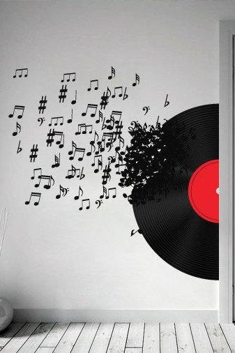 Vinyl Record Blowing Music Notes Decal for Modern Homes