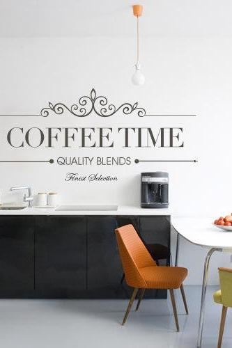 Wall Decal Quotes - Wall Quote Text Vinyl for Housewares Coffee Time Typographic Decal