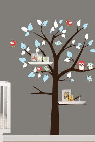 Shelving Tree with Birds and Owl Vinyl Wall Decal for Housewares