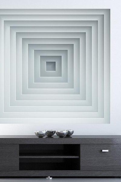 Optical Illusion Deep Wall Geometric Art Sticker Modern Decor Abstract Art Print Decal
