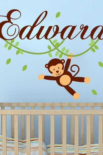 Custom Monkey with Name Girl Boy Children Sticker Jungle Theme Tree Branch Wall Decal