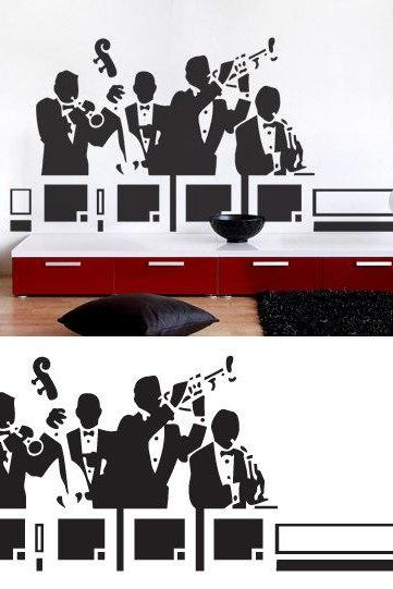 Jazz Band Vintage Sticker Music Wall Decal for Housewares
