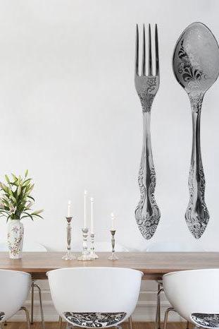 Wall Decal Retro Fork Spoon & Knife Wall Decal for Modern Living Room
