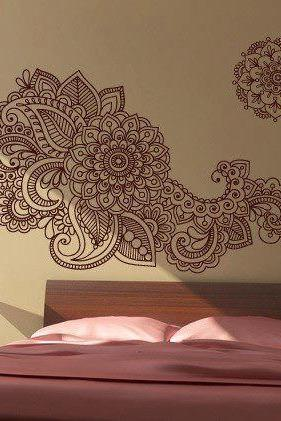 Henna Wall Stencil Decal Floral Indian Sticker for Asian Modern Homes