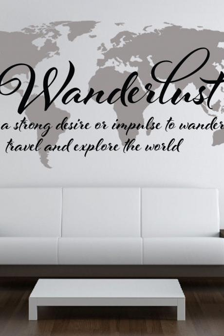 Wall Decal Quotes - Wanderlust Travel Quote World Map Wall Art Decal Explore the World Sticker Text
