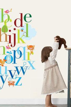 Alphabet Nursery Art Wall Sticker Decal for Kids Bedroom Home Decor