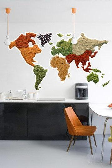 Spicy World Map Wall Decal Art Print Sticker for Modern Homes
