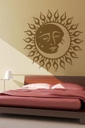 Sun and Moon Wall Sticker Tribal Vinyl Art Decoration for Housewares