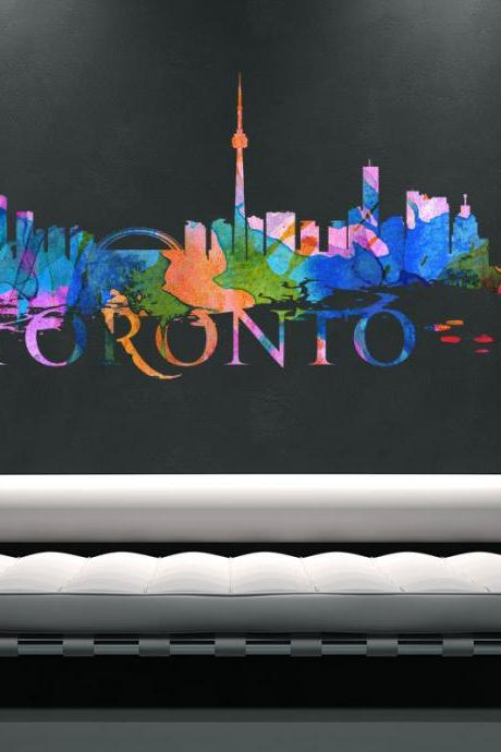 Toronto City Skyline Watercolor Art Decal for Housewares