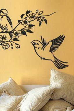 Floral with Birds Decal Tree Sticker Wall Art Home Decoration