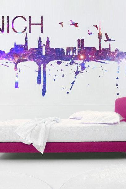 Munich Skyline Cosmic Effect Watercolor Decal for Modern Homes