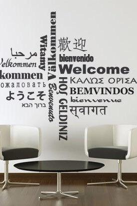 Wall Decal Quotes - Welcome Decal Typography in Different Languages Sticker Home Decor