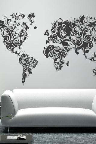 World Map Tribal Floral Design Decal for Housewares