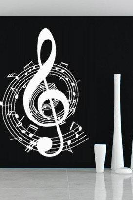 Music Clef Rounded Wall Decor with Notes Sticker for Homewares