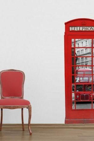 London Vintage Telephone Box Urban Image Decal Sticker for Housewares