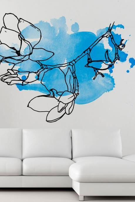 Floral Watercolor Blue Wall Decal Sticker for Modern Living Room
