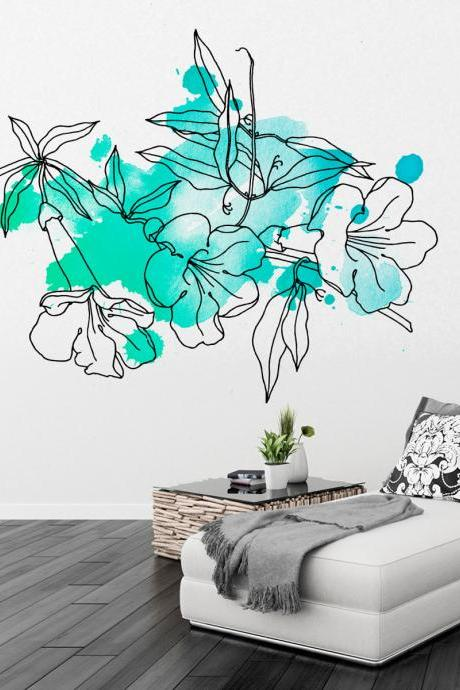Floral Watercolor Marine Decal Wall Tattoo Modern Homes