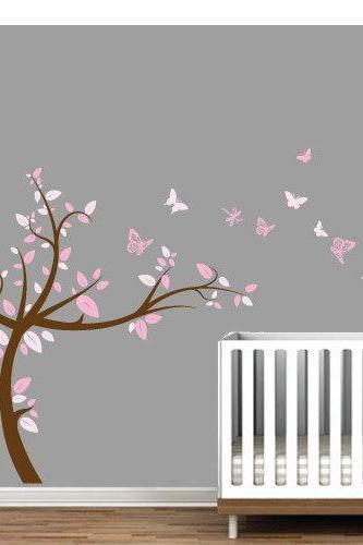 Pink Tree Wall Art Sticker for Kids Nursery Bedroom