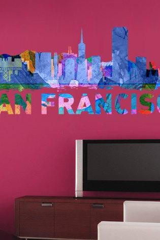 San Francisco Skyline Art Watercolor Print Decal for Housewares