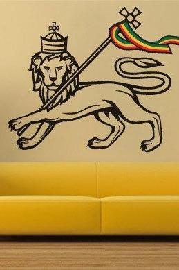 Lion of Judah Rastafari Sticker Wall Print Decor