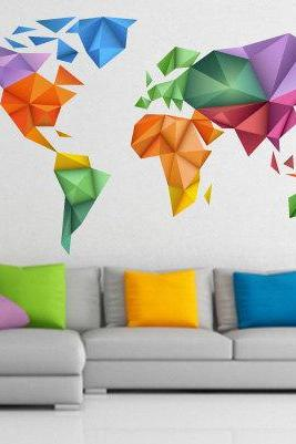World Map Japanese Art Origami Wall Print Design for Housewares
