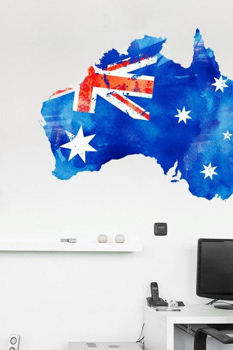 Australia Flag Watercolor Map Decal for Housewares