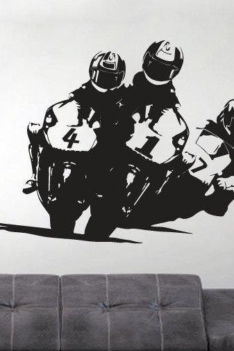 Vinyl Sports Silhouette Wall Decal Grand Prix Super Bike Sticker