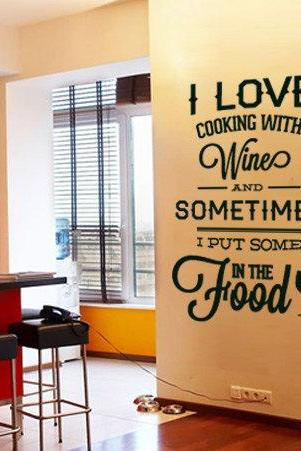 Wall Decal Quotes - I love Cooking with Wine Quote Sticker Home Decor for Kitchens Housewares Vinyl Wall Decal