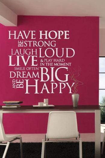 Wall Decal Quotes - Have Hope Be Strong Quote Sticker Home Decor for Housewares Inspirational Vinyl Wall Decal