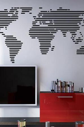 Lines World Map Decal Wall Art Sticker