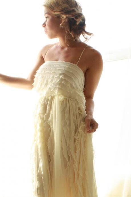 Ruffled Bohemian Wedding Gown Reserved Listing