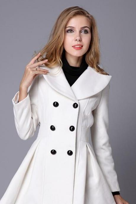 High Quality White Coat Fashion Trench Winter Coat for Women-Women White Coat Winter Lace Coats