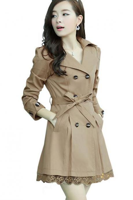 New Fashion Beige Trench Winter Coat for Women-Women Beige Coat Winter Lace Coats Polyester Winter Coats