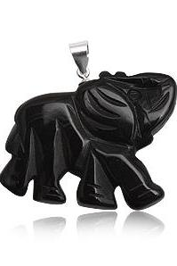Sterling Silver Black Onyx Elephant Pendant