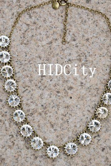 Crystal statement necklace bid necklace.Charm necklace