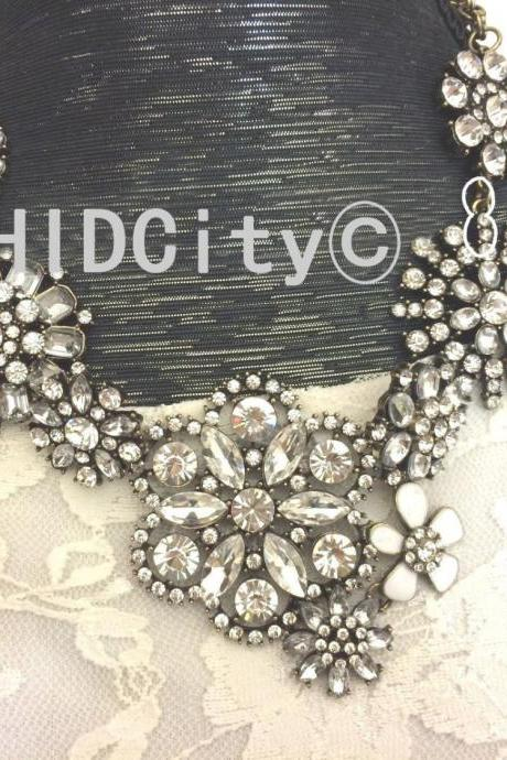 Crystal cluster floral lattice J style statement bib necklace ,Crystal necklace.wedding party necklace.fashion necklace.charms