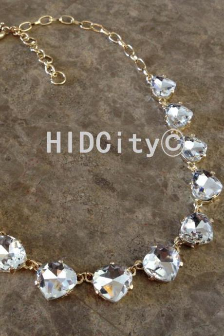 Crystal cluster triangle heart statement necklace,charm crystal necklace fashion necklace wedding necklace