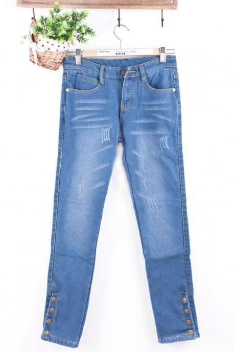 Women's jeans studs feet pants pencil pants trousers