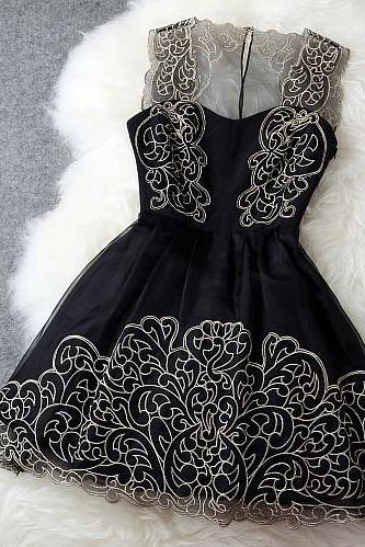 Fashion Flower Strap Embroidered Lace Dress MPz