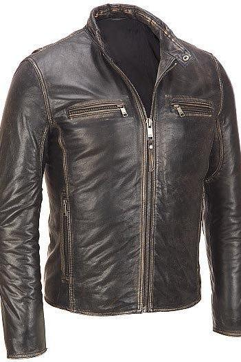 Men's leather jacket, Men brown distressed leather jacket, brown men leather jacket