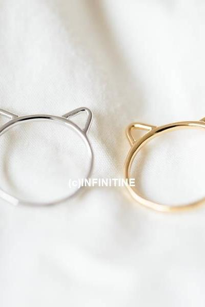 little kitty hammered knuckle ring,RN2557