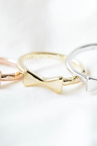 Simple bow tie knuckle ring,RN2553