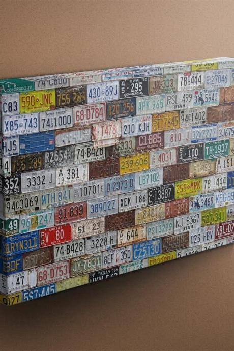 US License Plates Collection - Fine Art Photograph on Gallery Wrapped Canvas - 16x12' & more