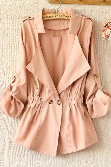 Lapel double-breasted elastic waist with trench coat