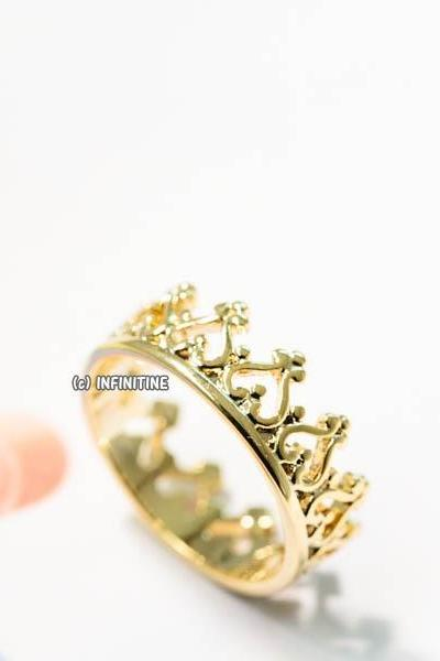 Delicate heart crown ring,RN2576