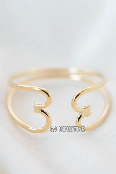 both line hand heart adjustable ring,RN2570