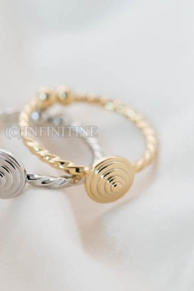 Inca spiral twisted adjustable ring,RN2566