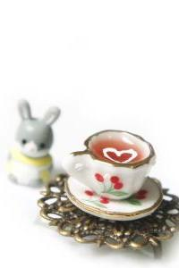 infinity cute mini cherry small cup ceramic tea ring can be adjusted